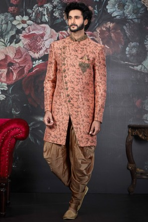 Peach Jacquard Silk Brocade Fabric Embroidered Stylish Indo Western With Art Silk Bottom