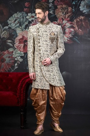 Embroidery Work Off White Jacquard Silk Brocade Indo Western With Art Silk Bottom