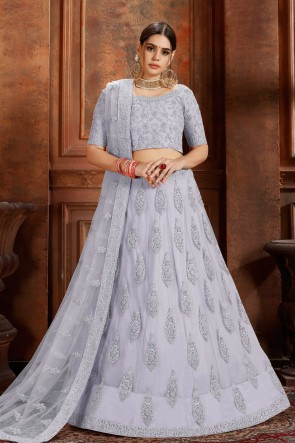 Delightful Zari Work And Thread Work Silver Net Lehenga Choli And Dupatta