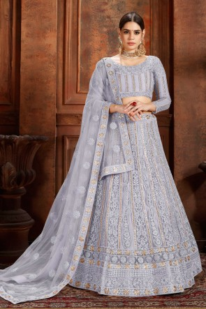 Marvelous Silver Thread Work And Zari Work Net Fabric Lehenga Choli And Dupatta