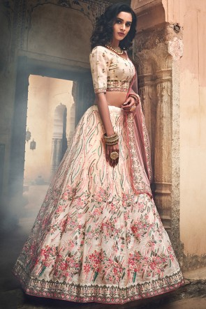 Organza Fabric Designer Multi Color Zari Work And Thread Work Lehenga Choli With Net Dupatta