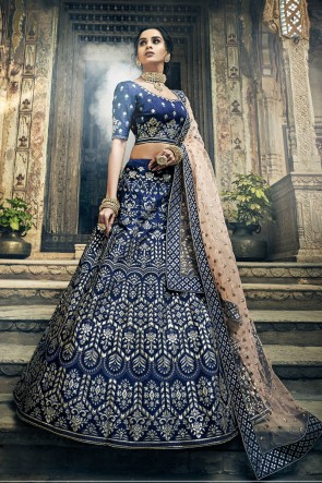 Gotta Patti And Thread Work Navy Blue Art Silk Designer Lehenga Choli With Net Dupatta