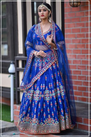 Blue Silk Fabric Resham Work Designer Lehenga Choli With Net Dupatta