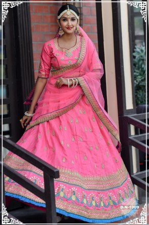 Silk Fabric Resham Work Designer Pink Lehenga Choli With Net Dupatta