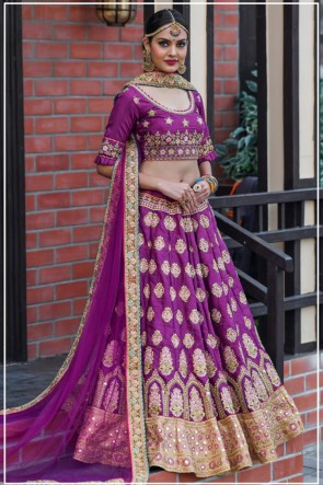 Silk Fabric Designer Purple Resham Work Lehenga Choli With Net Dupatta