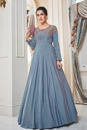 Cyan Silk Embroidered Gown