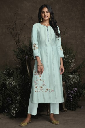 Party Wear Sky Blue Silk Hand Work Salwar Kameez