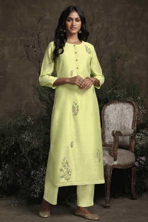 Hand Work Yellow Silk Fabric Salwar Kameez