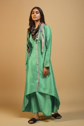 Charming Sea Green Silk Printed Kurti