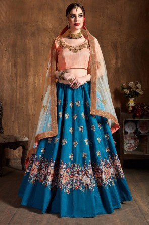 Resham And Sequins Work Teal Silk Fabric Designer Lehenga Choli With Net Dupatta
