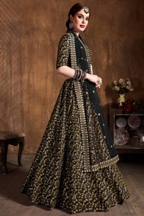 Zari Work And Embroidered Silk Fabric Black Lehenga Choli With Net Dupatta