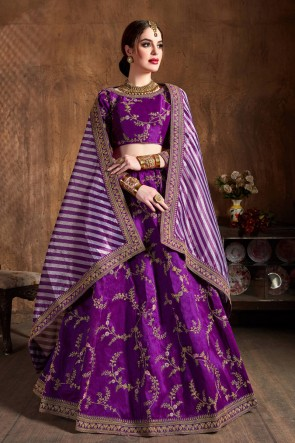 Violet Sequins Work And Zari Work Art Silk Fabric Lehenga Embroidered Blouse