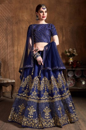 Supreme Navy Blue Art Silk Sequins Work And Zari Work Lehenga Choli And Dupatta