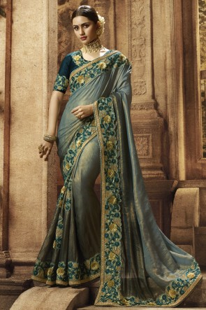 Georgette Fabric Silver And Grey Embroidered And Border Work Designer Saree With Silk Blouse