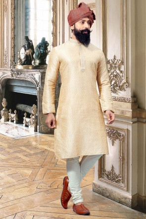 Stylish Thread Work Cream Jacquard Fabric Designer Kurta Pajama