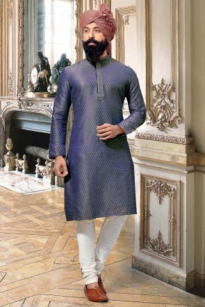 Admirable Blue Thread Work Jacquard Fabric Kurta Pajama