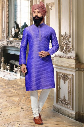 Jacquard Fabric Purple Thread Work Designer Kurta Pajama