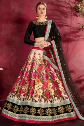 Banglori Silk Fabric Cream Printed And Sequence Embroidered Lehenga Choli With Net Dupatta