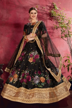 Black Zari And Flare Work Designer Banglori Silk Fabric Lehenga Choli With Net Dupatta