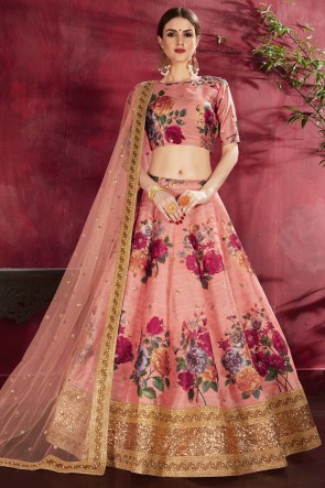 Designer Banglori Silk Fabric Peach Flare Work And Printed Lehenga Choli With Net Dupatta