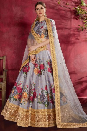 Grey Flare Work And Printed Designer Banglori Silk Lehenga Choli With Net Dupatta