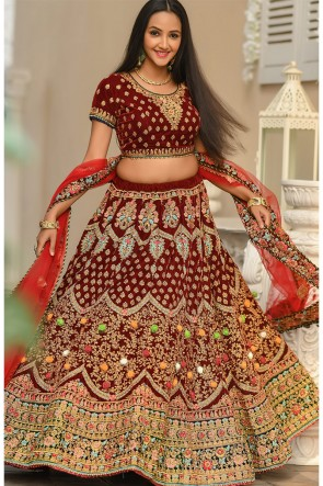 Red Velvet Fabric Zari And Stone Work Designer Lehenga Choli With Net Dupatta