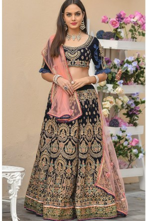 Navy Blue Stone Work And Zari Work Velvet Fabric Lehenga Choli With Net Dupatta