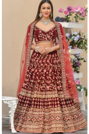 Velvet Fabric Stone Work And Zari Work Designer Red Lehenga Choli With Net Dupatta