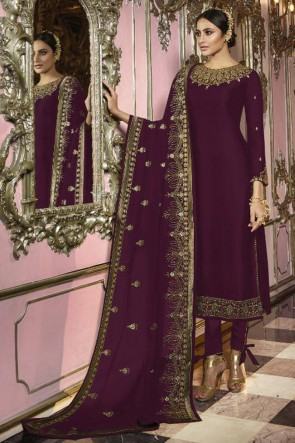 Party Wear Purple Faux Georgette Embroidered Salwar Kameez And Dupatta