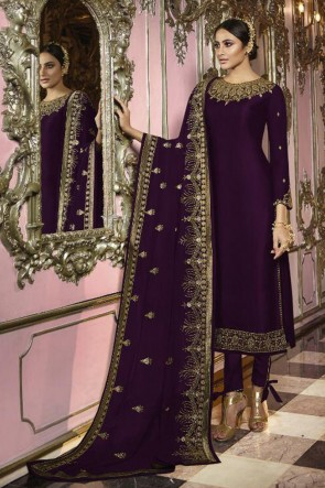 Beautiful Violet Faux Georgette Embroidered Designer Salwar Suit And Dupatta