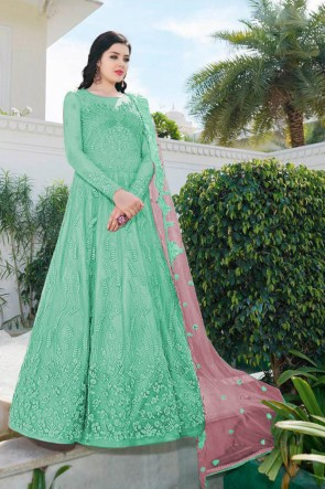 Sea Green Net Embroidered Abaya Style Anarkali Suit With Net Dupatta