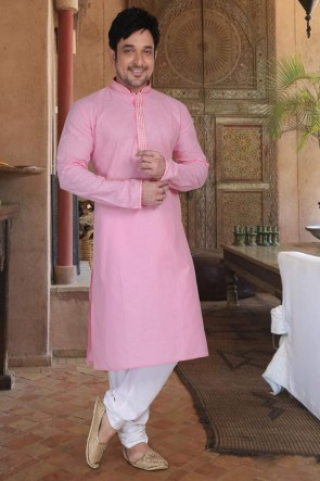 Cotton Fabric Light Pink Kurta Payjama