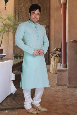 Designer Sky Blue Cotton Fabric Kurta Payjama