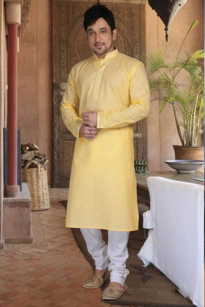 Cotton Fabric Yellow Kurta Payjama
