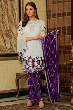 Designer White And Purple Embroidered Faux Georgette Plazzo Suit With Nazmin Dupatta