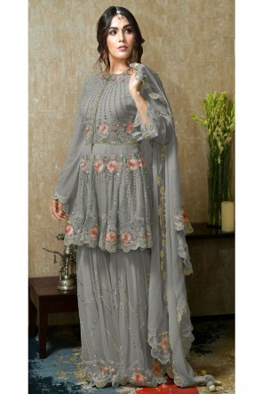 Grey Faux Georgette Embroidered And Hand Work Plazzo Suit With Nazmin Dupatta