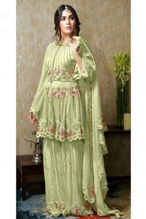 Embroidered And Hand Work Pista Faux Georgette Fabric Plazzo Suit With Nazmin Dupatta