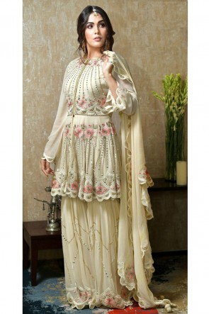Faux Georgette Designer Cream Embroidered And Hand Work Plazzo Suit With Nazmin Dupatta