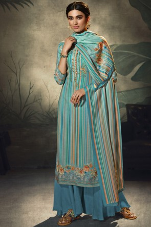 Blue Embroidered and  Printed Wool Pashmina Embroidered Plazzo Suit WithWool Pashmina Dupatta