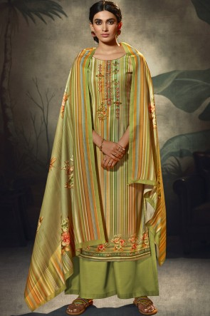 Green Wool Pashmina Embroidered and  Printed Plazzo Suit WhitWool Pashmina Dupatta