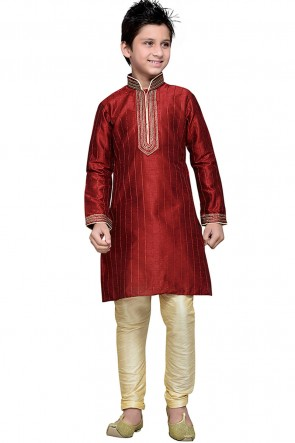 Classic Maroon Embroidered Work Art Silk Designer Kurta Pajama