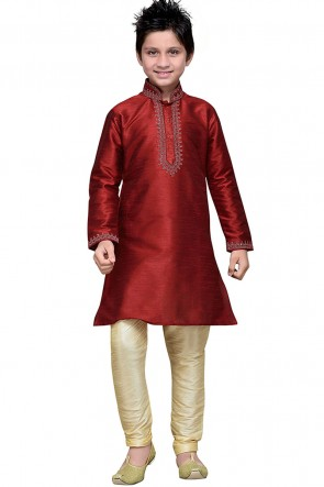 Graceful Maroon Art Silk Embroidered Work Designer Kurta Pajama