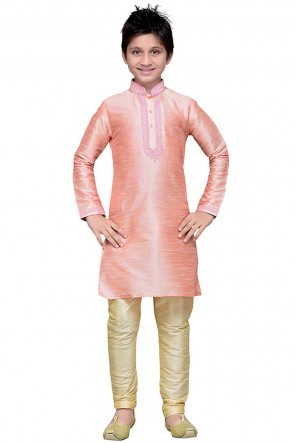 Desirable Pink Art Silk Embroidered Work Designer Kurta