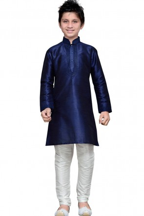 Admirable Navy Blue Embroidered Work Art Silk Kurta Pajama