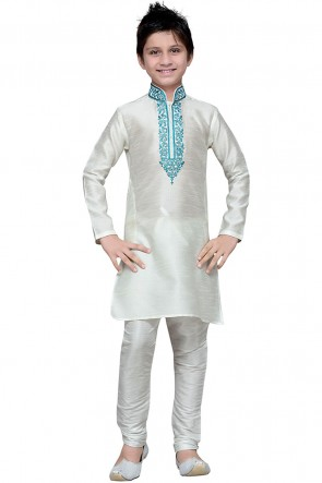 Gorgeous White Art Silk Designer Embroidered Work Kurta