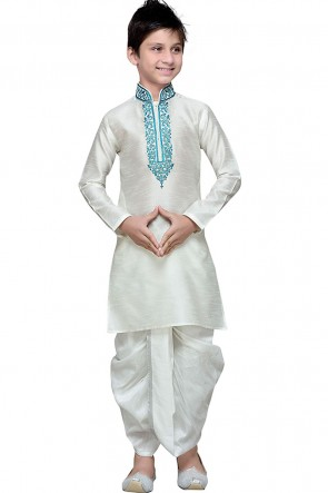 Charming White Art Silk Embroidered Work Designer Kurta