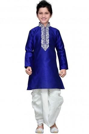 Beautiful Blue Embroidered Work Art Silk Designer Kurta