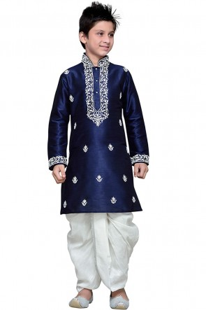 Graceful Navy Blue Art Silk Embroidered Work Designer Kurta