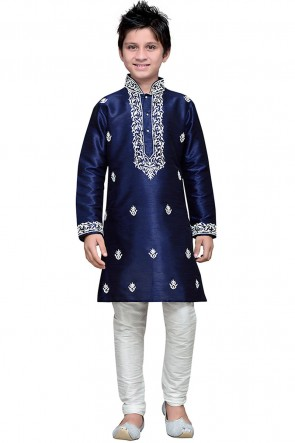 Supreme Navy Blue Embroidered Work Art Silk Designer Kurta