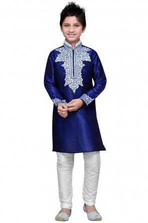 Excellent Navy Blue Art Silk Embroidered Work Designer Kurta